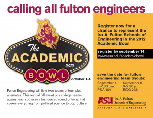 Try out for the Fulton Engineering Academic Bowl teams