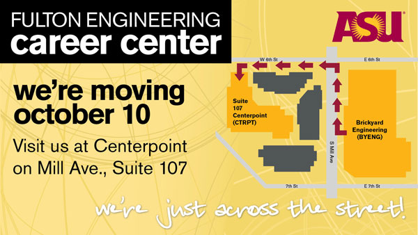 Visit the Engineering Career Center at their new location, Centerpoint 107.