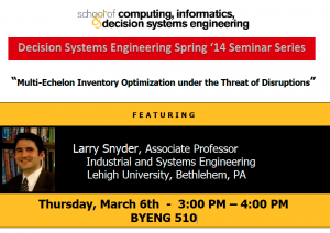 Larry Snyder, March 6, 3-4 p.m., BYENG 510