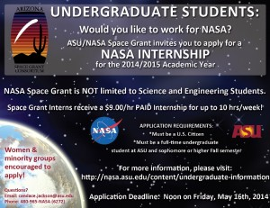 ASU/NASA Space Grant Internship Flyer