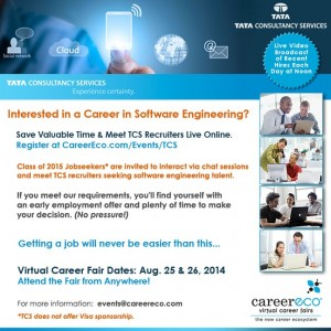 Tata Consultancy Services VCF_Software Engr_8-25-26-14