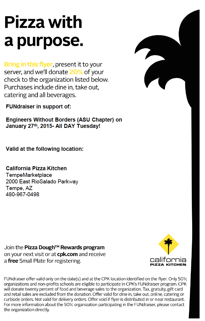 Engineers Without Borders Pizza Fundraiser, Jan. 27 | Inner Circle
