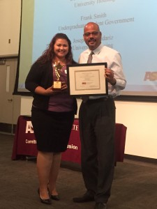 Jade Silva received an Excellence in Diversity award on April 15, 2015.