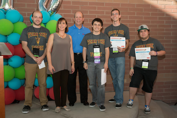 The team of Arizona State University students that won the Fastest Computer Build competition at this year's Avnet Tech Games posed with their first-place certificates and Avnet officials. From left are Eli Chmouni, the team's ASU faculty mentor, Avnet executive MaryAnn Miller, Avnet CEO Rick Hamada, and engineering students Troy Gerloff, Jeremy Morgan and Habib Matar.
