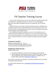 ITA Teacher Training flier