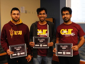 SoDA graduate students Anupam Panwar, Chinmay Gore and Shubham Agarwal with their awards