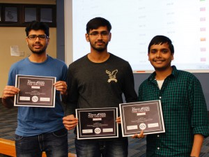 SoDA graduate students Kranthi Davuluri, Mohan Maddula and Abhinav Kilaru with their awards