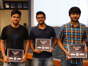 SoDA graduate students Yogesh Pandey, Bharat Singh and Mukund Manikarnike with their awards