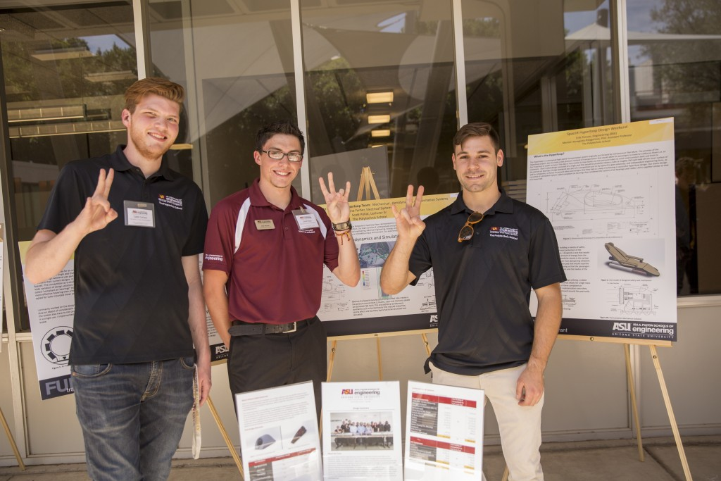 Students pose with their FURI research poster