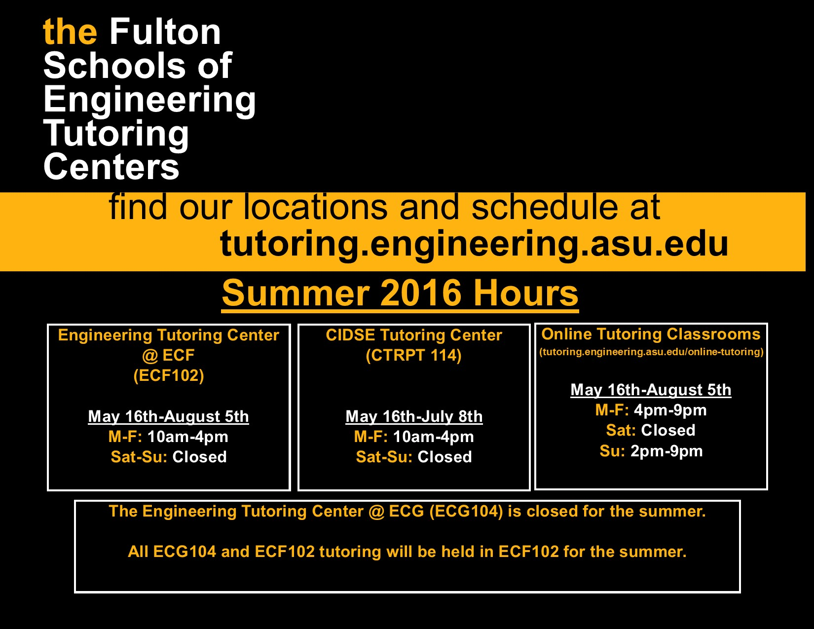 Summer Hours.All Centers