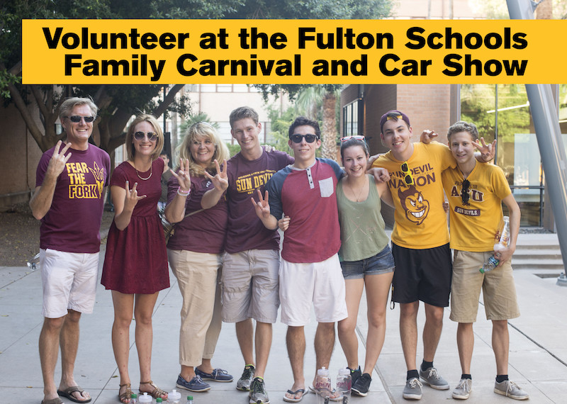 Photo of eight people standing in a row with text: Volunteer at the Fulton Schools Family Carnival and Car Show