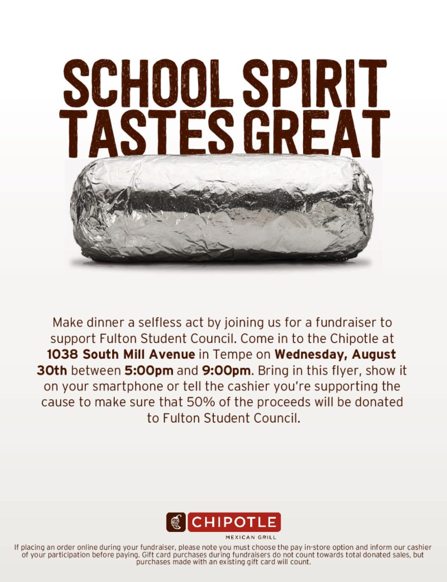 Fulton Student Council Chipotle Night flier