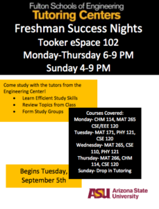Freshman Success Nights flier