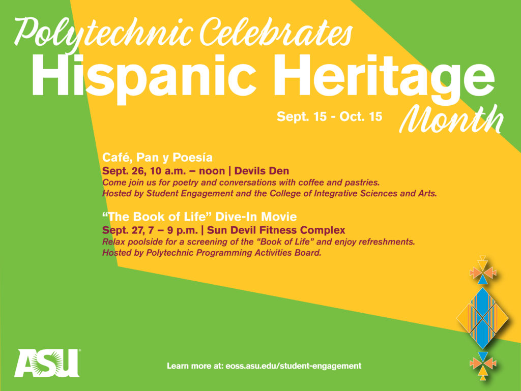 Schedule of Polytechnic campus Hispanic Heritage Month events.