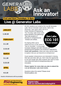 Live @ Generator Labs: Ask an Innovator series flier for Spring 2018