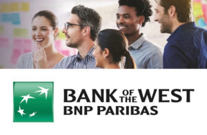 Bank of the West logo underneath a photo of five people.