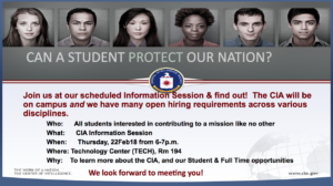 CIA info session flier, February 22, 2018