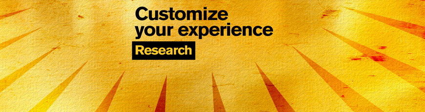 "Gold sunburst graphic with the text ""Customize your experience: Research"""
