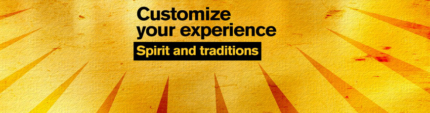 "Gold sunburst graphic with the text ""Customize your experience: Spirit and traditions"""