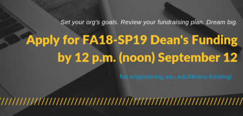 Apply for fall 2018–spring 2019 Dean's Funding by noon, September 12