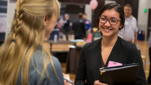 A student meets with a recruiter at Career Fair.