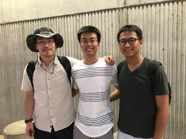 Arizona State University Assistant Professor Yezhou Yang (left) leads AI commentator team — Siyu Zhou (center) and Chia-Yu Hsu (right) — to victory at the KAIST World Cup 2018.