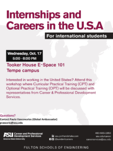 Internships and careers in the USA flier