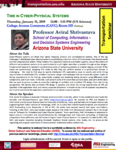 Transportation Seminar: Time in cyber-physical systems flier