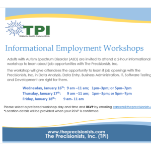 The Precisionists Informational Employment Workshops flier