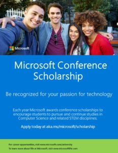 Microsoft Conference Scholarship flier