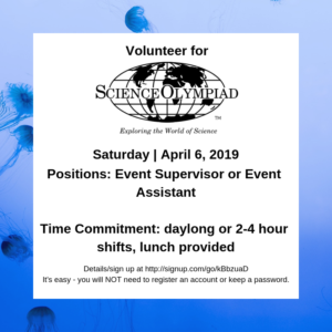 Volunteer at the Science Olympiad, April 6   Inner Circle