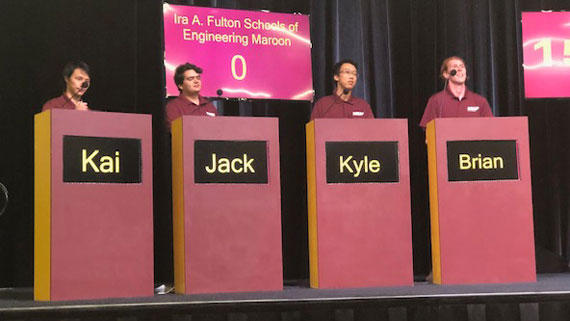 The Fulton Schools Maroon team competes in the 2019 ASU Academic Bowl.