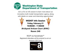 Washington State Department of Transportation info session flyer.