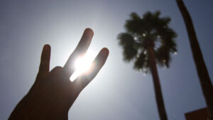 A pitchfork hand sign silhouetted against the sun.
