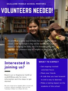 Volunteer mentors needed for middle school outreach.