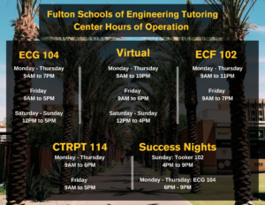 Fall 2021 Fulton Schools Tutoring Center Hours of Operations