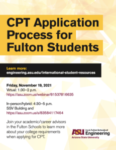 CPT application process event flyer, November 19
