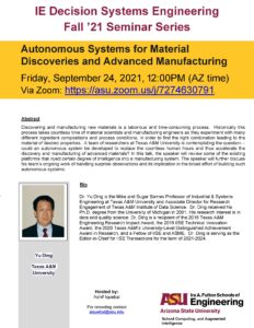 Autonomous Systems for Material Discoveries and Advanced Manufacturing, September 24, 2021